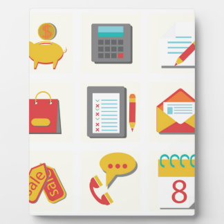 set of flat icons plaque