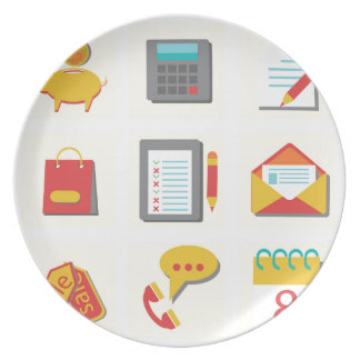 set of flat icons plate