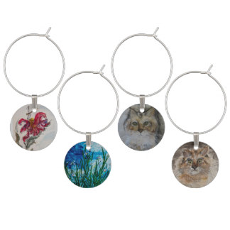 Set of Four Water Color Wine Charms