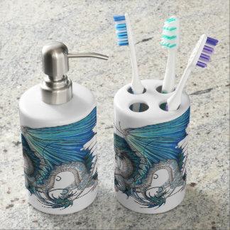 Set of jabonera and glass, dragoon toothbrush holders