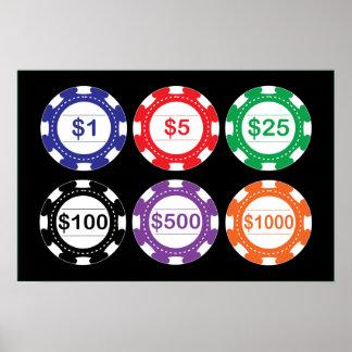 set of poker chips poster