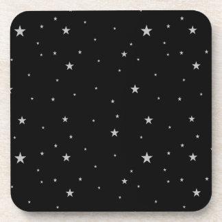 Set of Silver Stars On Black Coasters
