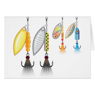 Set of spinners fishing lures vector illustration card