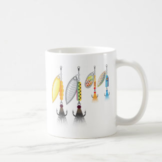 Set of spinners fishing lures vector illustration coffee mug