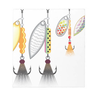 Set of spinners fishing lures vector illustration notepad