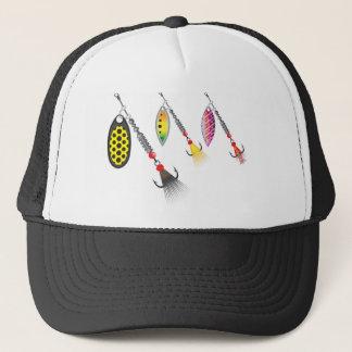 Set of spinners fishing lures vector illustration trucker hat