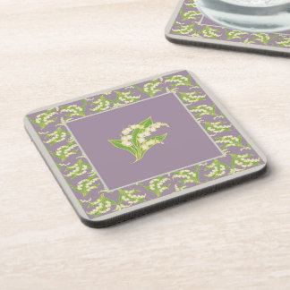 Set of Square Coasters: Lily of the Valley, Mauve Coaster