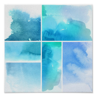 Set of watercolor abstract hand painted 2 poster