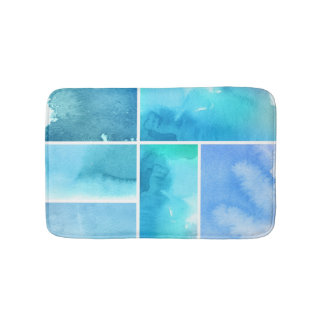 Set of watercolor abstract hand painted 2 bath mats