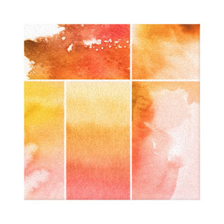 Set of watercolor abstract hand painted 4 stretched canvas print