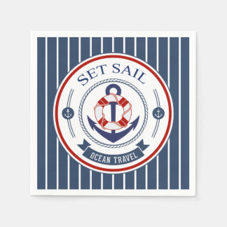 Set Sail Ocean Travel Nautical Disposable Napkin