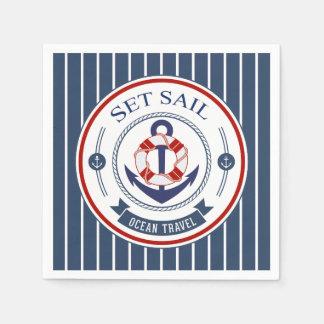 Set Sail Ocean Travel Nautical Standard Cocktail Napkin