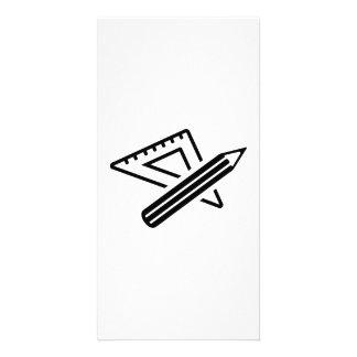 Set square ruler pen custom photo card