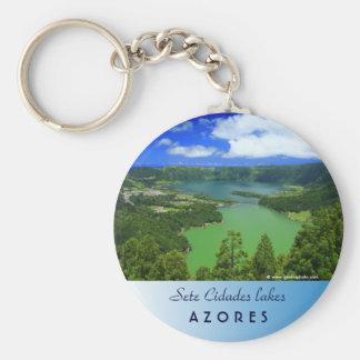 Sete Cidades lakes Basic Round Button Key Ring