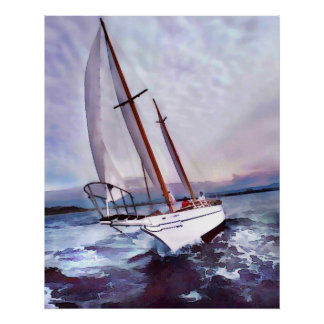 Setting Sail at Daybreak Poster