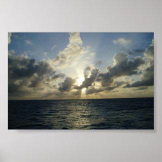 Setting Sun in Grand Cayman Poster