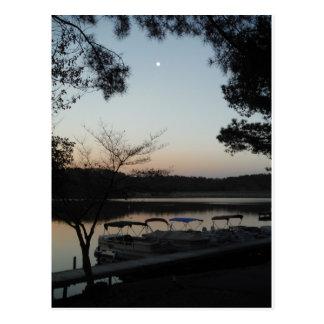Setting Sun, Rising Moon  over  Lake Arrowhead Postcard