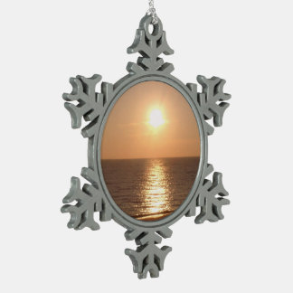 Setting Sun Snowflake Pewter Christmas Ornament
