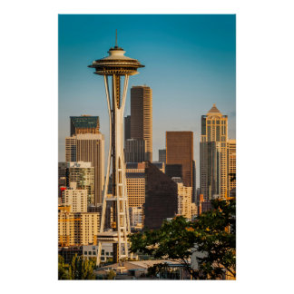 Setting Sunlight On The Space Needle And Seattle Poster