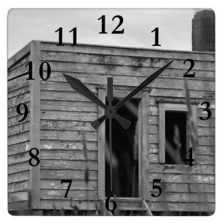 settlers cabin aotearoa new zealand square wall clock