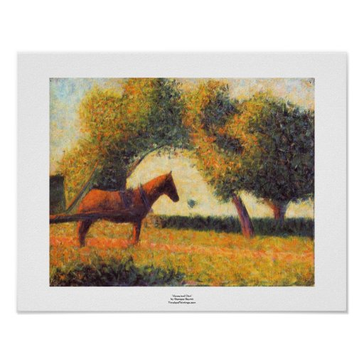 Seurat horse and cart painting pointillist art posters