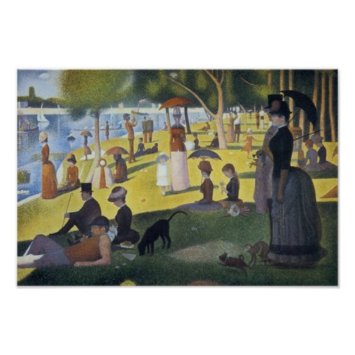 Seurat Sunday Afternoon Painting Vintage Poster