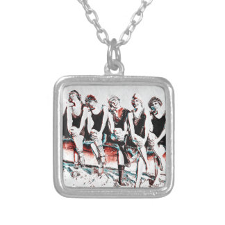 Seven Bathing Beauty Pals Silver Plated Necklace