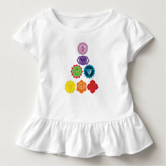 Seven Chakra Yoga Baby Toddler Ruffle Tee, White Toddler T-Shirt