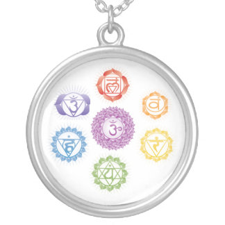 Seven  Chakras Silver Plated Necklace