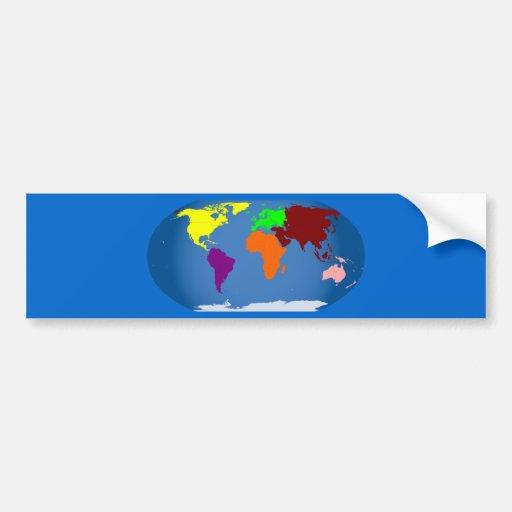 Seven Continents Colored Bumper Sticker