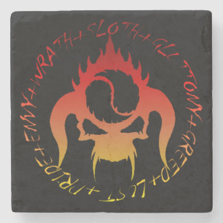 Seven deadly sins and skull marble stone coaster