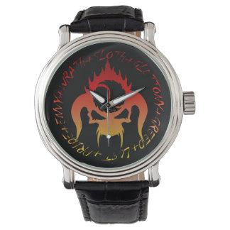 Seven deadly sins Black Vintage Leather watch