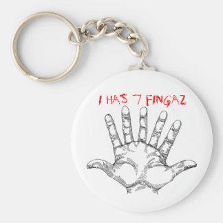seven_fingered_hand, I HAS 7 FINGAZ Key Ring