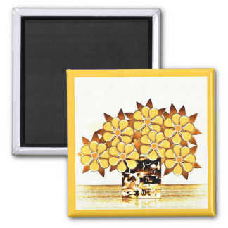 Seven Flowers and Vase Yellow Magnet