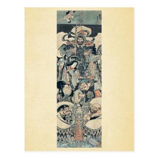 Seven gods of good fortune by Utagawa,Kuniyoshi Postcard