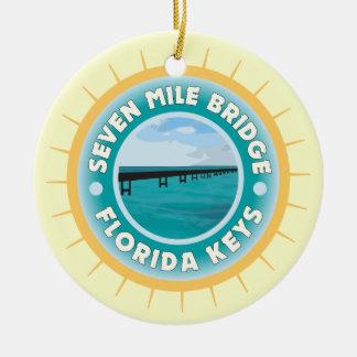 Seven Mile Bridge Florida Keys Ceramic Ornament