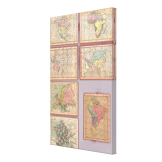 Seven Puzzle Maps of the World Stretched Canvas Print
