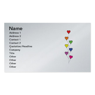 Seven Rainbow Colored  Heart Balloons Business Cards