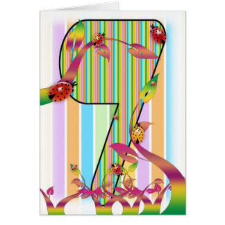 Seven, Seventh birthday card, 7th Greeting Card