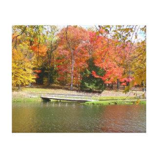 Seven Springs Fall Bridge III Autumn Landscape Canvas Print