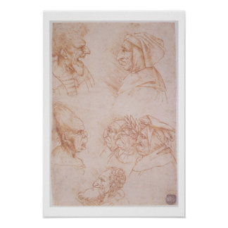 Seven Studies of Grotesque Faces (red chalk on pap Poster