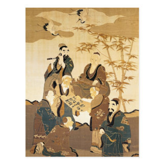 Seven wise men in the bamboo forest post card