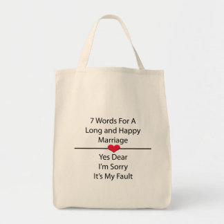 Seven Words For a Long and Happy Marriage Grocery Tote Bag