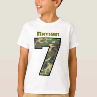 Seven Year Old 6th Birthday Camo Custom Name V033 T-Shirt