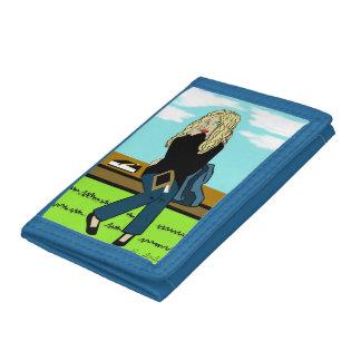 Seven's blue wallet