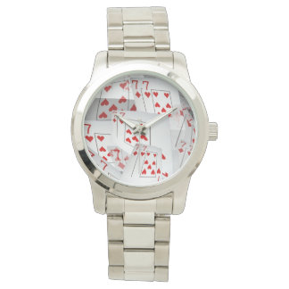 Sevens, Poker Cards, Large Unisex Silver Watch. Watch