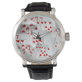 Sevens, Poker Cards, Mens Leather Big Face Watch. Watch