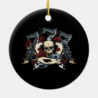 Sevens Skull Guns Roses Ace Of Spades Gambling Ceramic Ornament