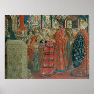 Seventeenth Century Russian Women at Church Poster