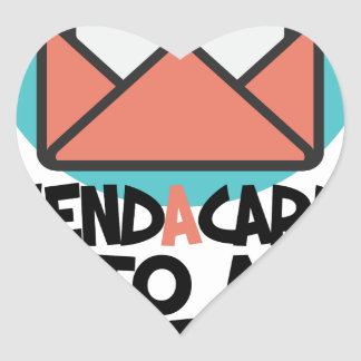 Seventh February - Send a Card to a Friend Day Heart Sticker